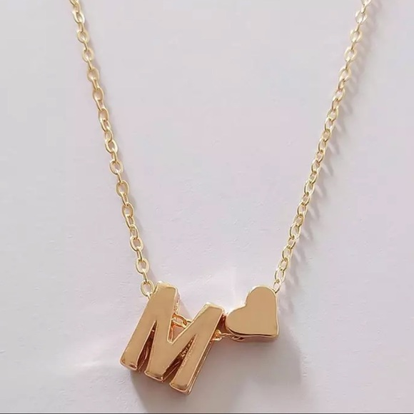 Jewelry - Gold M Initial Heart Necklace